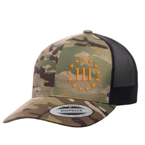 Three Percenter III & 13 Stars Retro Trucker Cap - MultiCam & Orange
