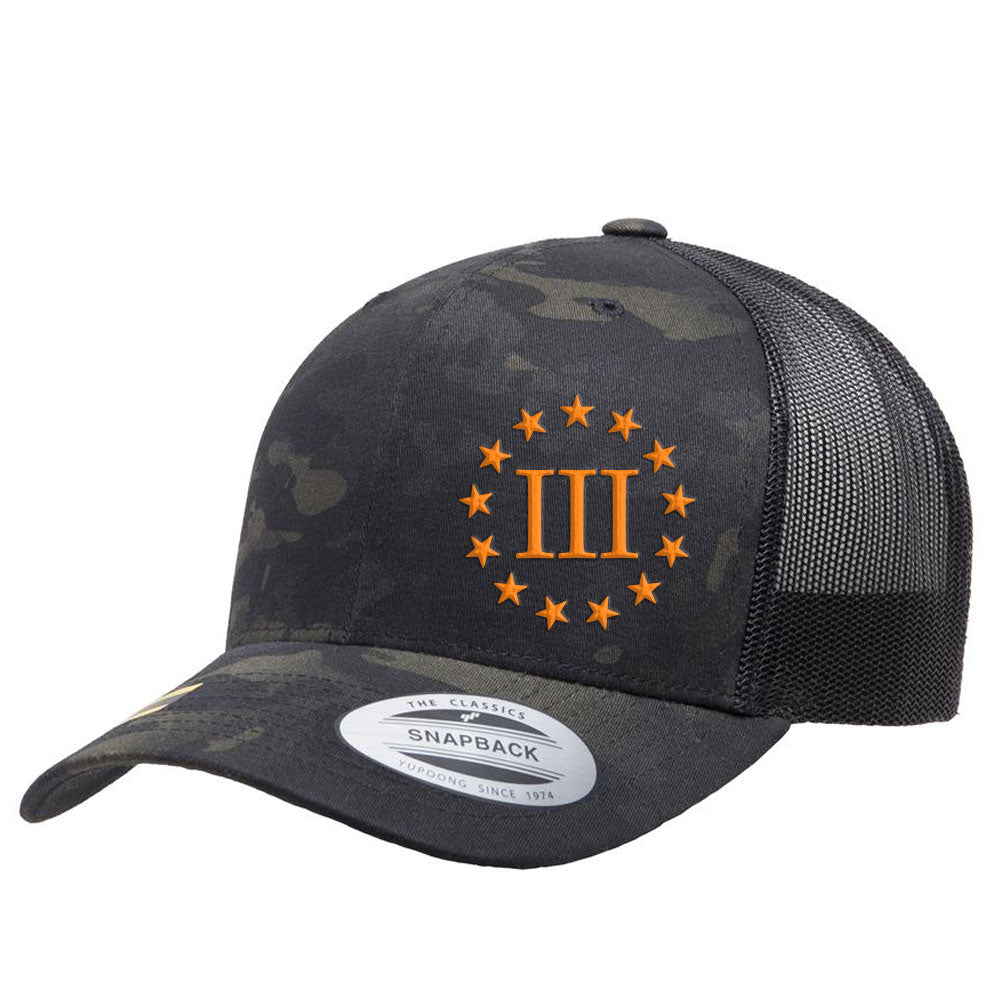 Three Percenter III & 13 Stars Retro Trucker Cap - Black MultiCam & Orange