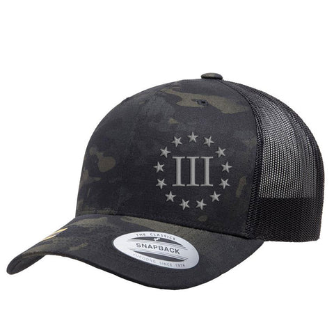Three Percenter III & 13 Stars Retro Trucker Cap - Black MultiCam & Silver