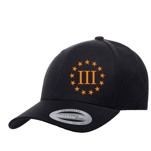 Three Percenter III & 13 Stars Premium Snapback Cap - Black & Orange