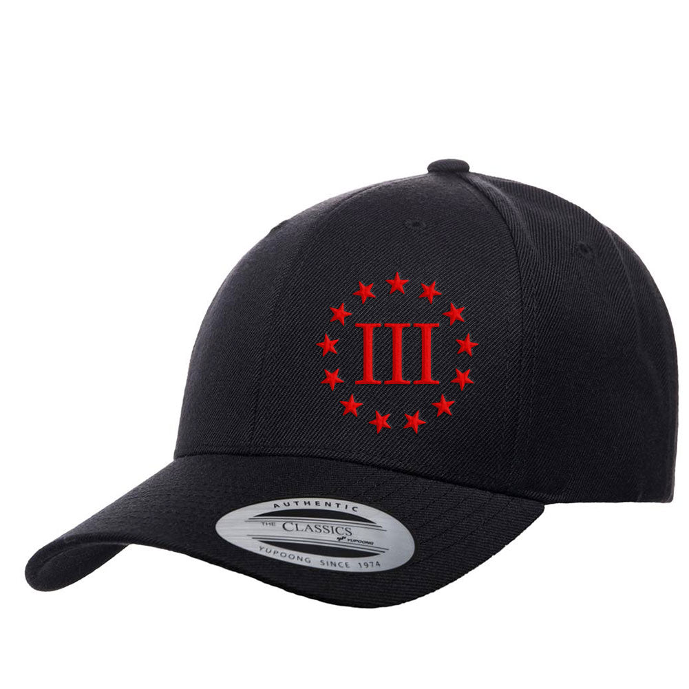 Three Percenter III & 13 Stars Premium Snapback Cap - Black & Red