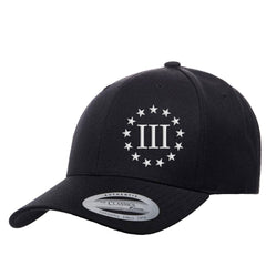 Three Percenter III & 13 Stars Premium Snapback Cap - Black & White