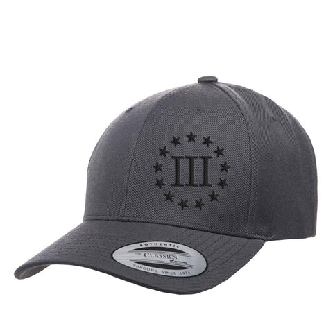 Three Percenter III & 13 Stars Premium Snapback Cap - Grey & Black
