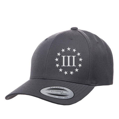 Three Percenter III & 13 Stars Premium Snapback Cap - Grey & White