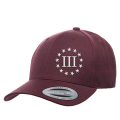 Three Percenter III & 13 Stars Premium Snapback Cap - Maroon & White