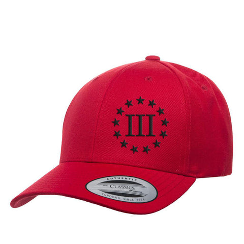 Three Percenter III & 13 Stars Premium Snapback Cap - Red & Black