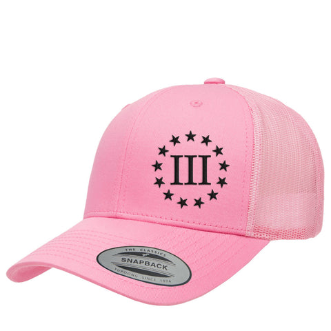Three Percenter III & 13 Stars Retro Trucker Cap - Pink & Black