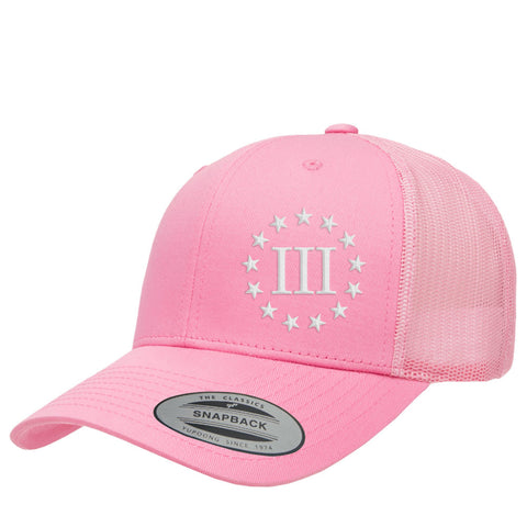 Three Percenter III & 13 Stars Retro Trucker Cap - Pink & White