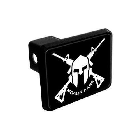 Trailer Hitch Cover - Crossed AR-15s & Spartan Helmet