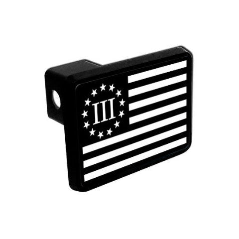 Trailer Hitch Cover - Three Percenter Flag - Black & White