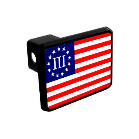 Trailer Hitch Cover - Three Percenter Flag - Red, White & Blue