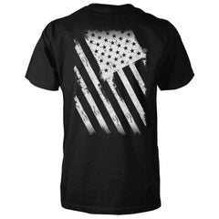 American Flag Shirt - Distressed Back Print - Black