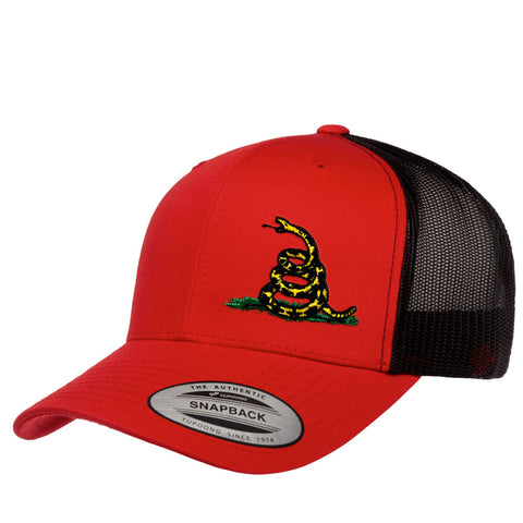Gadsden Flag Rattlesnake Retro Trucker Cap - Red & Black