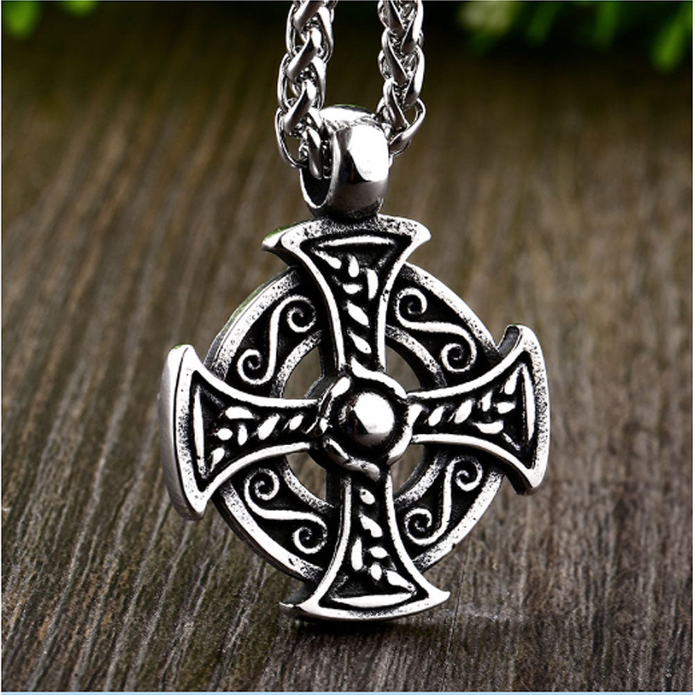Celtic Circle Cross Stainless Steel Pendant & Necklace