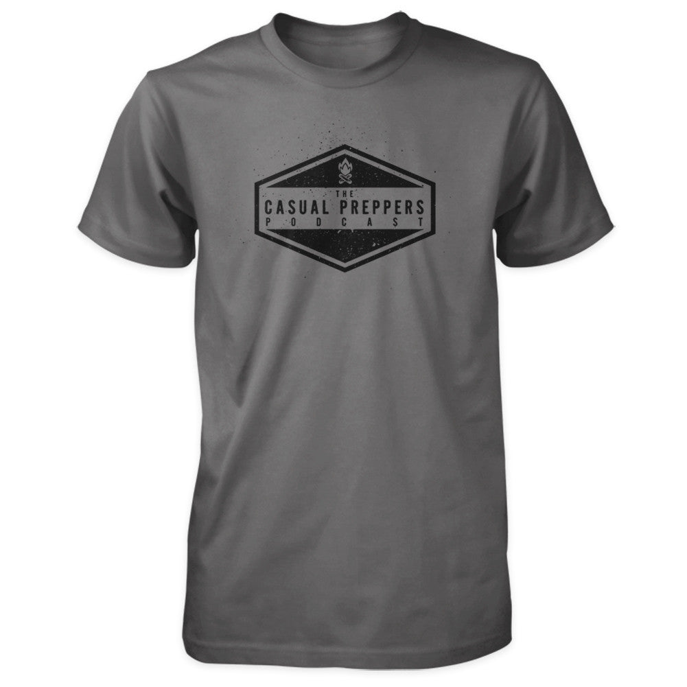 The Casual Preppers Podcast Shirt - CP Logo - Charcoal