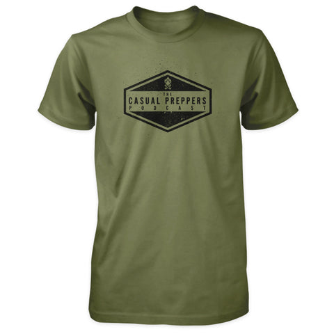 The Casual Preppers Podcast Shirt - CP Logo - Military