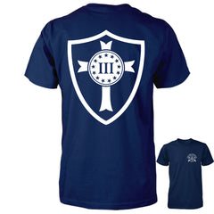 Three Percenter Shirt - Crusader Shield | Back Print - Navy