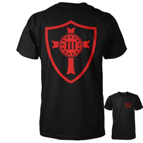 Three Percenter Shirt - Crusader Shield | Back Print - Black with Red