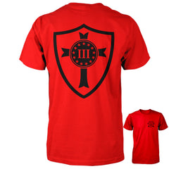 Three Percenter Shirt - Crusader Shield | Back Print - Red