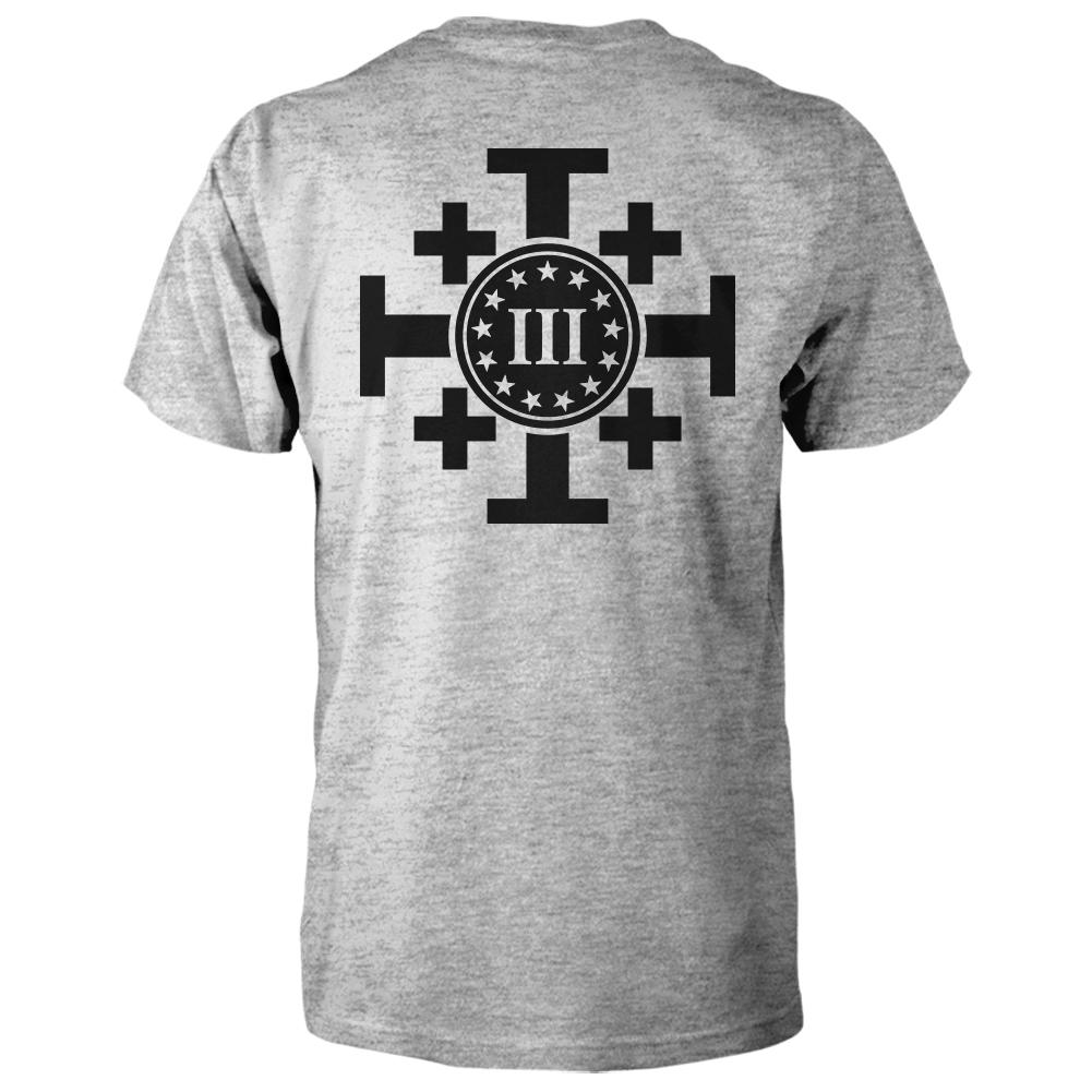 Three Percenter Shirt - Crusaders Cross | Back Print - Sports Grey / Black