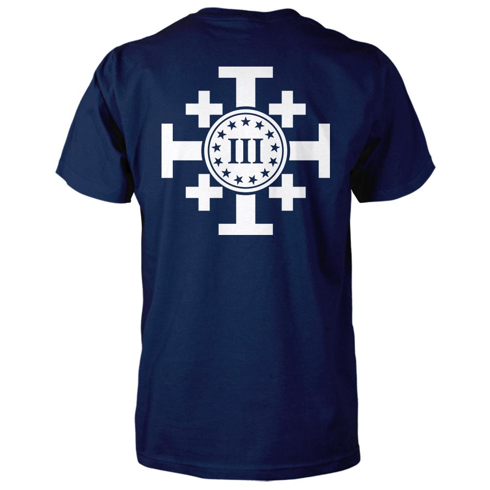 Three Percenter Shirt - Crusaders Cross | Back Print - Navy / White