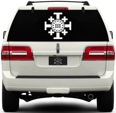 Three Percenter Window Decal - Crusaders Cross