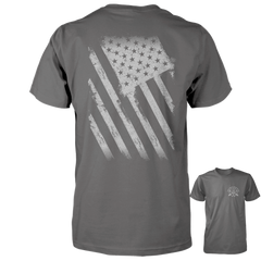 American Flag Shirt - Distressed Back Print - Charcoal
