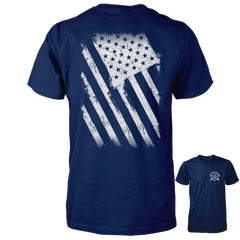 American Flag Shirt - Distressed Back Print - Navy