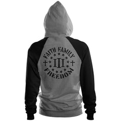 Three Percenter Pullover Raglan Hoodie - Faith Family Freedom