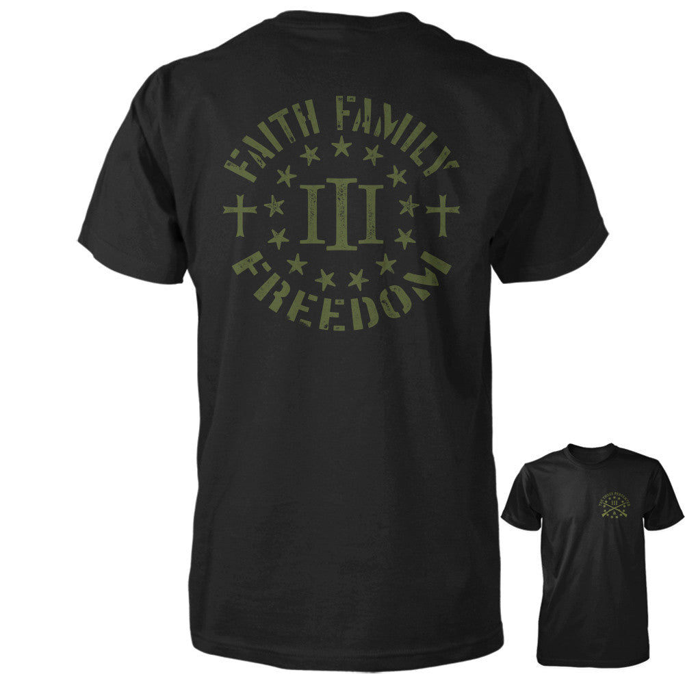 Three Percenter Shirt - Faith Family Freedom - BLack with OD Green