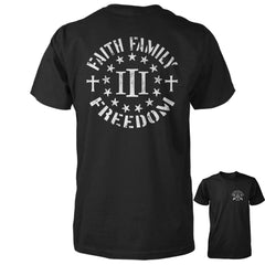 Three Percenter Shirt - Faith Family Freedom - Black