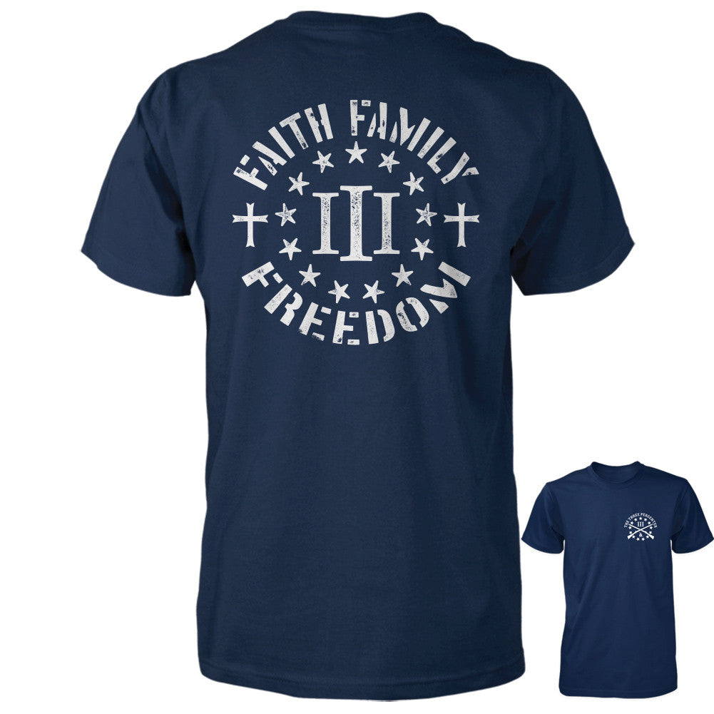 Three Percenter Shirt - Faith Family Freedom - Navy