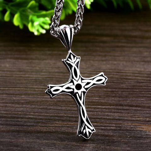 Celtic Style Cross Stainless Steel Pendant & Necklace