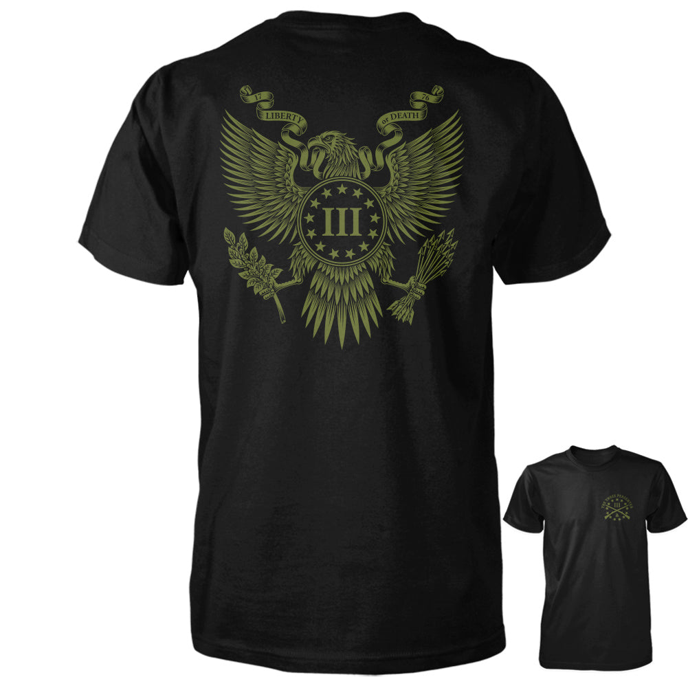 Three Percenter Shirt - Great Seal of the III Percent | Back with OD Green