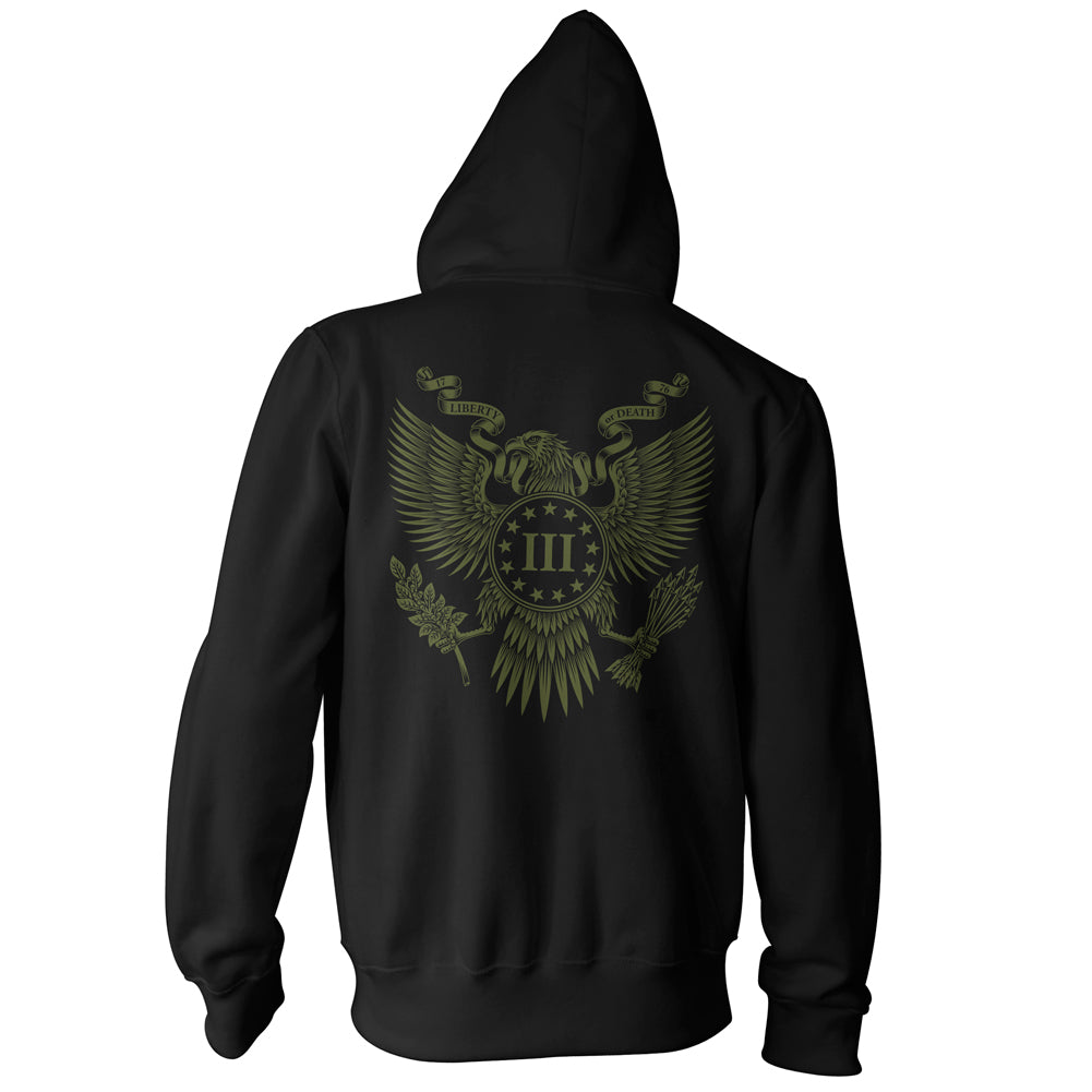 Three Percenter Zip Up Hoodie - Great Seal of the III Percent - Black with OD Green