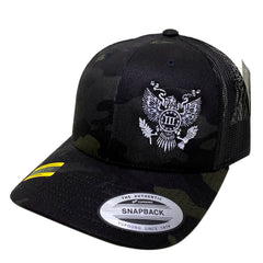 Great Seal of the Three Retro Trucker Cap - Black MultiCam