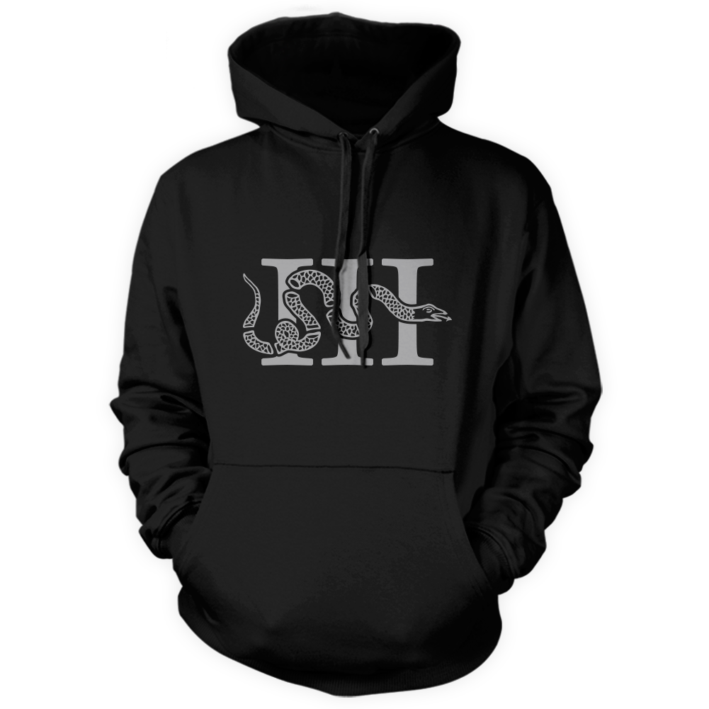 Three Percenter Pullover Hoodie - III & Join or Die Snake - Black
