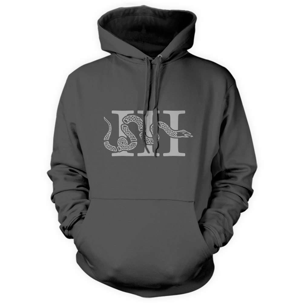 Three Percenter Pullover Hoodie - III & Join or Die Snake - Charcoal