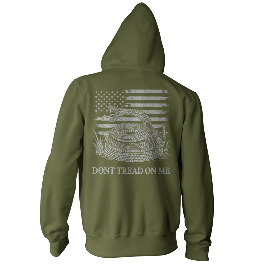 Dont Tread On Me Pullover Hoodie - American Flag & Rattlesnake - Military