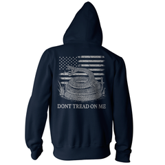 Dont Tread On Me Pullover Hoodie - American Flag & Rattlesnake - Navy