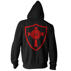 Three Percenter Pullover Hoodie - Crusader Shield - Black with Red