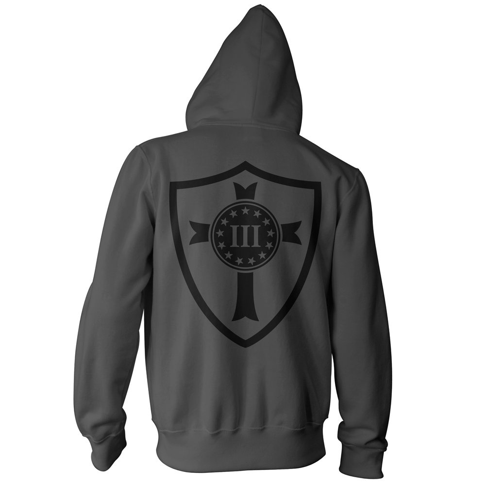 Three Percenter Pullover Hoodie - Crusader Shield - Charcoal