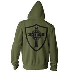 Three Percenter Pullover Hoodie - Crusader Shield - Military