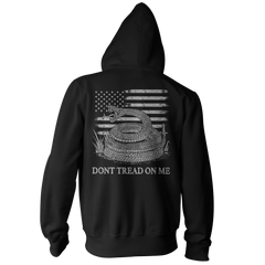 Dont Tread On Me Pullover Hoodie - American Flag & Rattlesnake - Black
