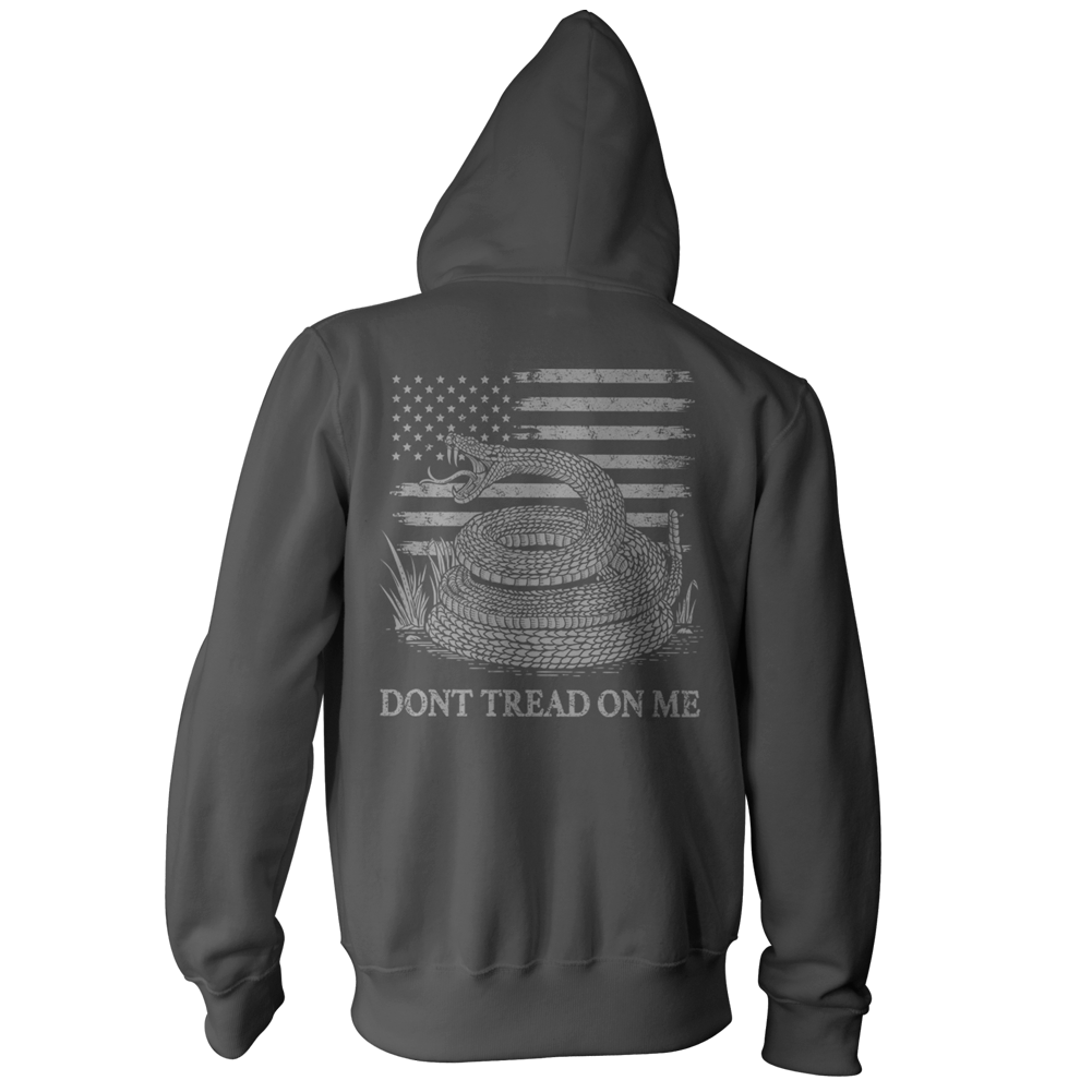 Dont Tread On Me Pullover Hoodie - American Flag & Rattlesnake - Charcoal