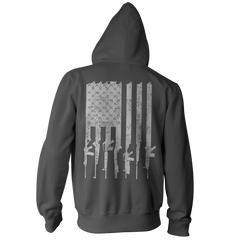 American Gun Flag Pullover Hoodie - Distressed Vertical Back Print - Charcoal