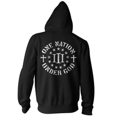 Three Percenter Zip Up Hoodie - One Nation Under God - Black White