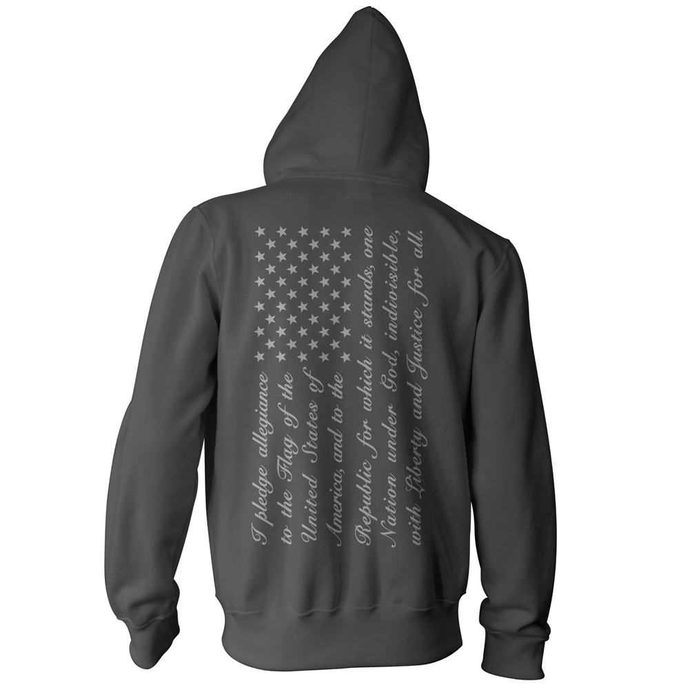 Pledge of Allegiance American Flag Pullover Hoodie - Charcoal/Grey
