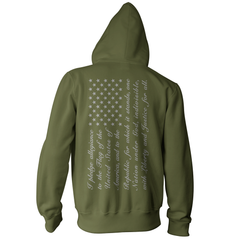 Pledge of Allegiance American Flag Pullover Hoodie - Military/Grey