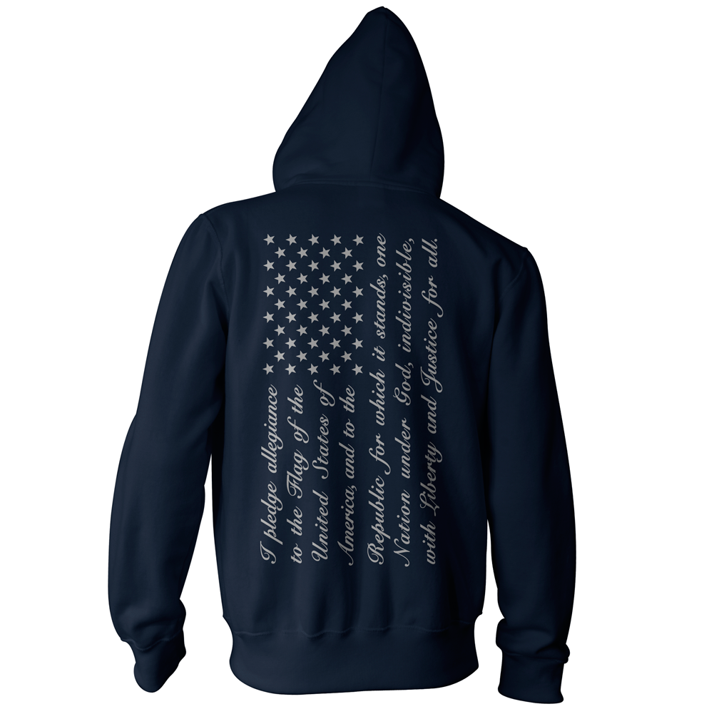 Pledge of Allegiance American Flag Pullover Hoodie - Navy/Grey
